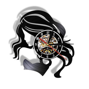 Sexy Lady With Long Hair Modern Vinyl Record Wall Clock Beauty Salon Business Sign Woman HairCare Barber Shop Wall Clock Watch