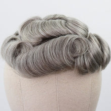 Load image into Gallery viewer, YY Wigs Brown Mixed Grey Human Hair Toupee for Men #5 80% Gray Remy Hair Replacement System Curly Skin PU Men's Toupee