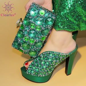 Newest Popular Women Shoes And Bag Set African Shoes and Bag To Match Gold High Quality Nigerian Party Shoes And Bag set
