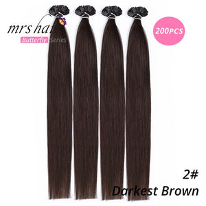 "MRSHAIR Pre Bonded Flat Tip Hair Extensions 14"" 18"" Machine Remy Hair Straight Capsules Keratin Fusion Hair Blonde"