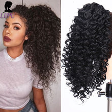 Load image into Gallery viewer, LUPU Afro Puff Kinky Curly Drawstring Ponytail Hair Extension Synthetic Clip in Pony Tail African American Hairpieces For Women