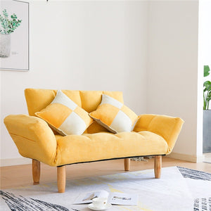 Modern Linen Sleeper Futon Sofa Love Seat Couches For Home Living Room Furniture Japanese Lazy Recliner Sofa Foldable Back&Arm