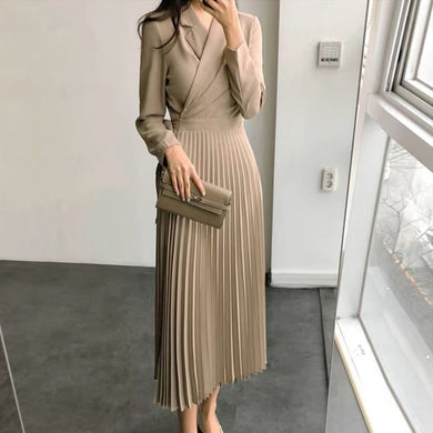 Women's Fashion Solid Long Sleeve Party Dress Women V-Neck Maxi Dress Office Lady dresses robe femme