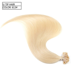 "Neitsi Straight Keratin Capsules Human Fusion Hair Nail U Tip Machine Made Remy Pre Bonded Hair Extension 16"" 20"" 24"" 28"""