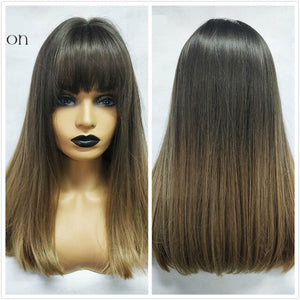 Synthetic Medium Straight Wigs with Bangs