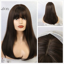 Load image into Gallery viewer, Synthetic Medium Straight Wigs with Bangs