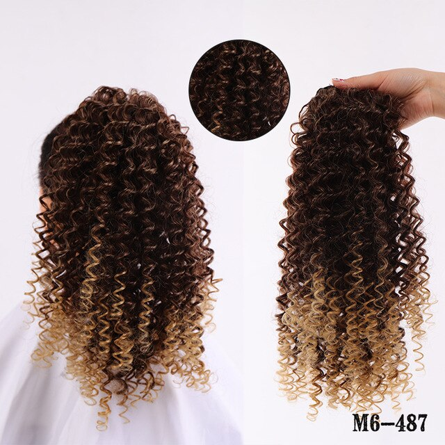 LUPU Afro Puff Kinky Curly Drawstring Ponytail Hair Extension Synthetic Clip in Pony Tail African American Hairpieces For Women