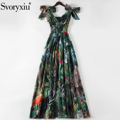 Svoryxiu Runway Women's Summer Plus Size Long Dresses Elastic Waist Deep V-Neck Forest Animal Print Chiffon Holiday Maxi Dresses