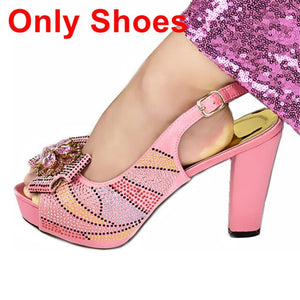 New Arrival Peach Color African Women Matching Italian Shoes and Bag Set Decorated with Rhinestone African Ladies Shoes and Bags