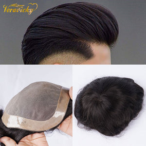 Men's Toupee Hair Mono with PU Durable Wigs for Men European Remy Human Hair Replacement Systems Hairpiece 10x8inch Hair Pieces