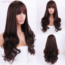 Load image into Gallery viewer, MISS WIG Long Wavy Wigs for Black Women African American Synthetic Hair pink Brown Wigs with Bangs Heat Resistant Wig