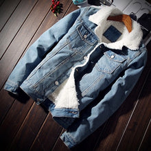 Load image into Gallery viewer, Wool line Denim Jacket