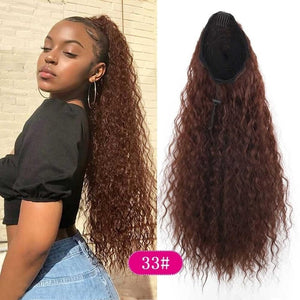 Long Curly Kinky Ponytail Synthetic Hair Extension Ponytail Clip in Hairpiece