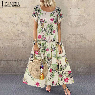 ZANZEA 2020 Bohemian Printed Maxi Dress Women's Summer Sundress Vintage Casual Short Sleeve Tunic Vestidos Female Floral Robe