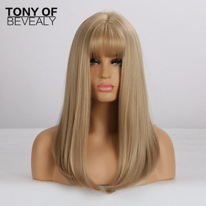 Long Straight Brown Wigs With Bangs Natural Synthetic Wigs for Women African American Cosplay Wigs Heat Resistant Fiber
