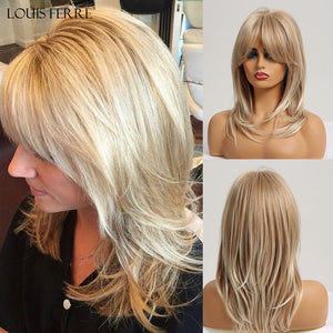 LOUIS FERRE Synthetic Medium Wavy Natural Wig with Bangs Women African American Hair Ombre Gloden Blonde Ash Middle Part Wigs