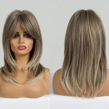 Load image into Gallery viewer, LOUIS FERRE Synthetic Medium Wavy Natural Wig with Bangs Women African American Hair Ombre Gloden Blonde Ash Middle Part Wigs