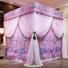 Load image into Gallery viewer, Luxury Pink Red Blue Two Floors Three Doors Square Floor-standing Shading Princess Lace Bed Mantle Mosquito Net Room Decoration