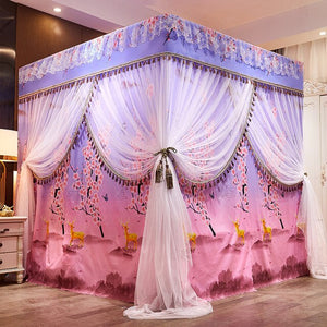 Luxury Pink Red Blue Two Floors Three Doors Square Floor-standing Shading Princess Lace Bed Mantle Mosquito Net Room Decoration