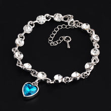 Load image into Gallery viewer, Genuine 925 Sterling Silver Heart Bracelets For Women Blue Sapphire Tanzanite and Crystal Chain Bracelet Trendy Wedding Gift Fine Jewelry