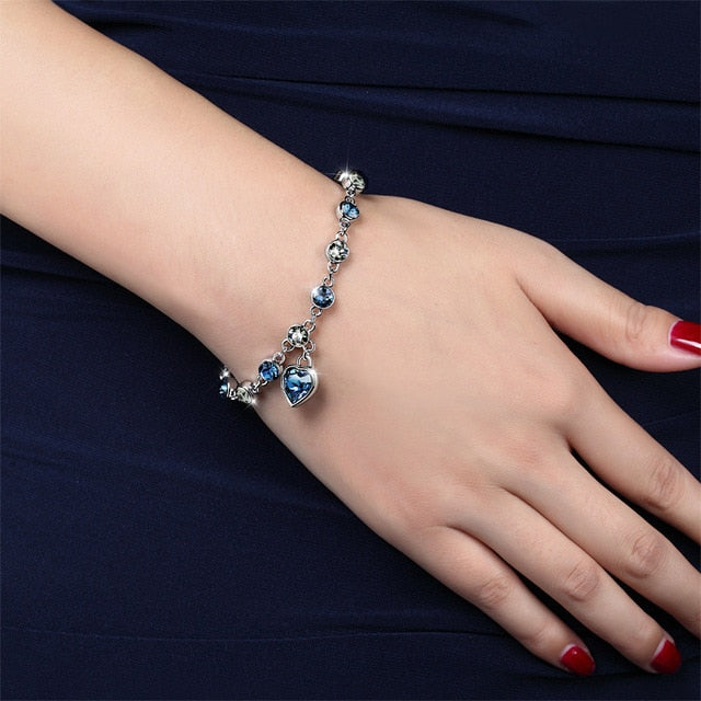 Genuine 925 Sterling Silver Heart Bracelets For Women Blue Sapphire Tanzanite and Crystal Chain Bracelet Trendy Wedding Gift Fine Jewelry