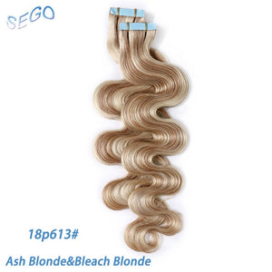 Tape-in Wavy Human Hair Extensions 12-24 inches