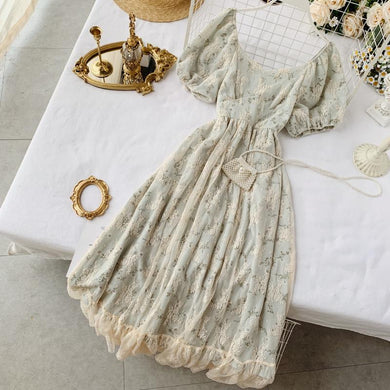 New fashion women's dresses French elegance vintage lace high waist slimming floral dress