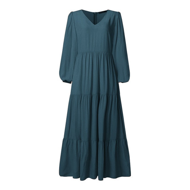 Plus Size ZANZEA Bohemian Sundress Women's Puff Sleeve Long Plain Maxi Dress Sexy V neck Casual Loose Patchwork Dress Beach Robe
