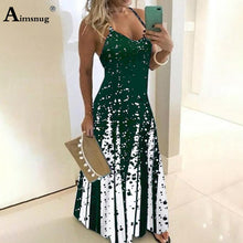 Load image into Gallery viewer, Plus Size 4xl 5xl 2020 Women's Dress Colors Summer Sexy Boho Print Bow Camis Befree Maxi Dress Casual Loose Dresses Robe Femme
