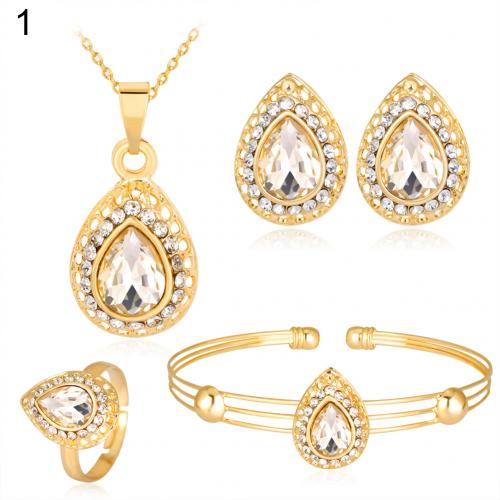 Women Retro Water Drop Gold Plated Jewelry Set Necklace Bracelet Earrings Ring Engagement party Wedding New Chic
