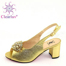 Load image into Gallery viewer, Latest L.PURPLE Shoe Italian Shoe and Bag Set for Party In Women Wedding Shoes Bride Cristal High Quality African Wedding Shoes