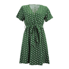 Load image into Gallery viewer, Polka dot Women's Dress V-neck Summer Wrap Dresses For Women Casual Front Split female Long Dress Office Ladies Vestidos D25