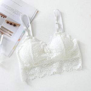 Sexy Lace Bralette Tube Tops Bandeau Summer Women Lace Bra Tanks Crop Tops Bandeau Girl Underwear Solid Color Camisole Hot Sale