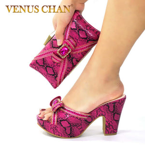 Sexy Style Nigerian Shoe and Bag Set 2020 Fashion African Party Shoes and Bag Shoes with Matching Bags Party Shoes in Fuchsia