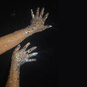 Shiny glass diamond gloves see-through net gauze stage performance gloves bar nightclub GOGO dance wear party festival Rave