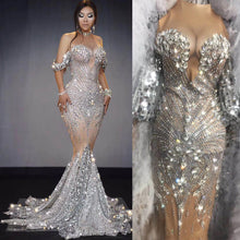 Load image into Gallery viewer, Sparkly Sequins Nude Dress Sexy Full Stones Long Big Tail Dress Costume Prom Birthday Celebrate Dresses Drag queen colthing