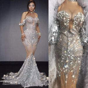 Sparkly Sequins Nude Dress Sexy Full Stones Long Big Tail Dress Costume Prom Birthday Celebrate Dresses Drag queen colthing