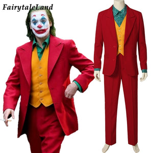 Movie Joker Costume Cosplay Arthur Fleck Carnival Halloween Outfit Batman Joker Red Suit Adult Men Street Fashion Green Shirt