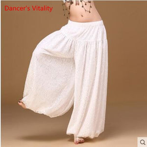 sexy loose unisex bloomers dance pant tribal dance harem pants two layers of white lace for men and women, free shipping