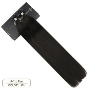 "Ugeat U Tip Nail Hair Extensions Machine Remy Hair 14-24"" Natural Real Human Hair Pre-bonded Hair Extensions 50g/100g"