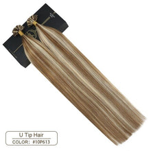 "Load image into Gallery viewer, Ugeat U Tip Nail Hair Extensions Machine Remy Hair 14-24"" Natural Real Human Hair Pre-bonded Hair Extensions 50g/100g"