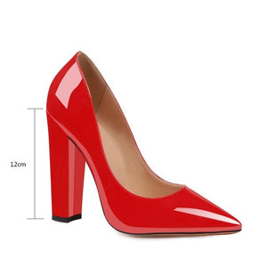 WETKISS Thick High Heels Block Shoes Woman Pumps Fish Scale Skin Ladies Pumps Pointed Toe Dress Shoes Party Wedding Big Size