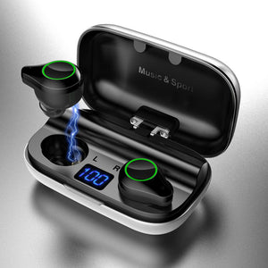TWS Earphone Sport Waterproof IPX7 Gaming Headset HiFi Sound Bluetooth Earphones Blue Tooth 5.0 Wireless Earbuds with Charge Box