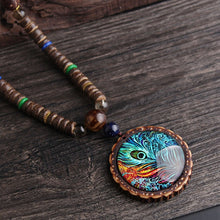 Load image into Gallery viewer, Retro Peacock Feather Necklace with Handmade Wood Beads