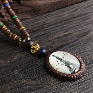 Retro Peacock Feather Necklace with Handmade Wood Beads