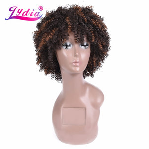 Lydia Afro Kinky Curly Wigs Short Synthetic Mixed Brown Women Wigs Kanekalon Heat Resistant African American Nature Wigs