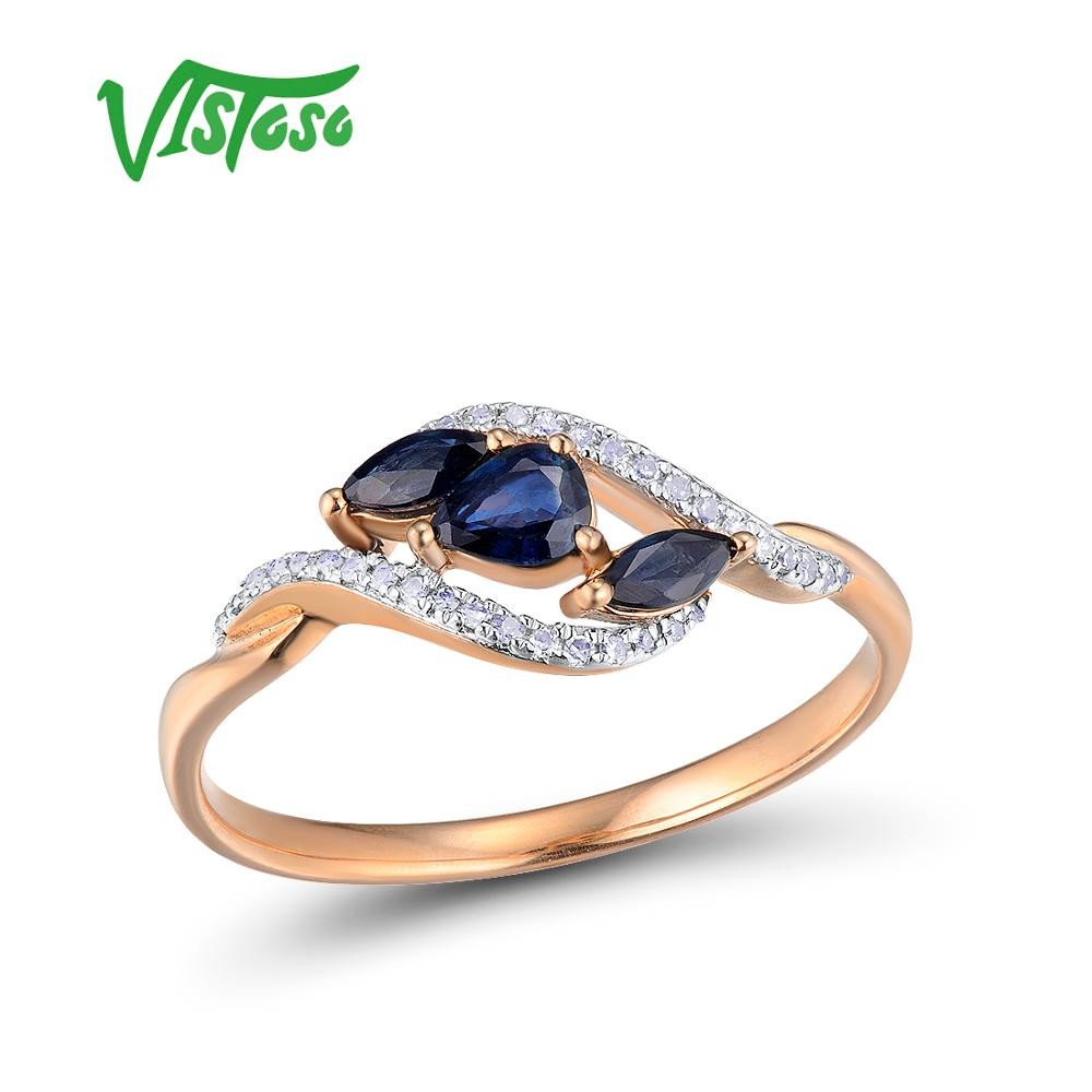 VISTOSO Rose Gold Sapphire Ring Fine Jewelry