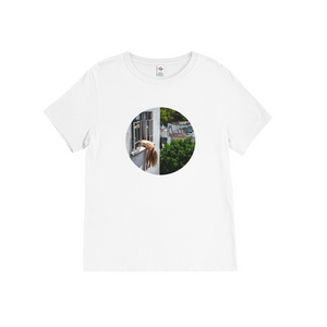 White t-shirt with photo of woman leaning out window