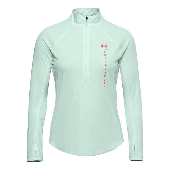 Under Armour Women's Speed Stride Attitude Half-Zip Long Sleeve Top-Cyan