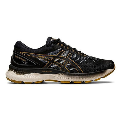 ASICS Men's Gel-Nimbus 22 Knit Road Running Shoes-Black/Black